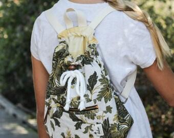 Handmade Girl Backpack in Vintage Floral