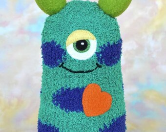 Handmade Sock Monster Doll, Plush Stuffed Art Toy, Hug Me Monster, Personalized Tag, Green, Blue, Purple, Orange, 10 inch, Ready-made