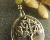 Tree of Life Wax Seal Charm Pendant, Fine Silver and Connemara Marble, Tree Jewelry, Irish Celtic Jewelry, Necklace