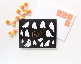 Boo! Halloween Gold Foil Notecard