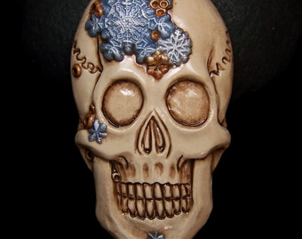 Snowflake Skull Cameo Cabochon Christmas, Winter, Hannakkah, Holiday Skeleton Face CAB Hand Crafted Polymer Clay