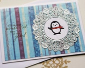 Penguin Christmas Card- 3D Christmas Card, Christmas Holiday Greeting Card, Penguin Card, Handmade Christmas Card, Blank Christmas Card