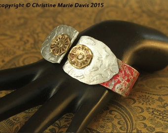 SALE red tin cuff bracelet... red is the color of my true love's hair... handmade boho gypsy steampunk smashed buttons