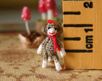 Muffa's - Micro Miniature Crochet Sockmonkey - Tiniest