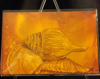 Alcohol Ink Art Whelk Print in Easel Frame