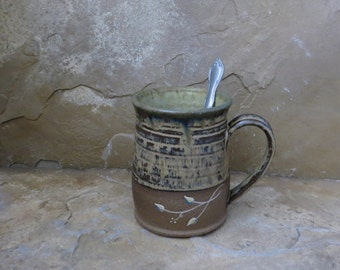 Mug Cup - Handmade Stoneware Pottery Ceramic - Burnt Iron Brown and Straw Yellow - Vines - 16 ounce