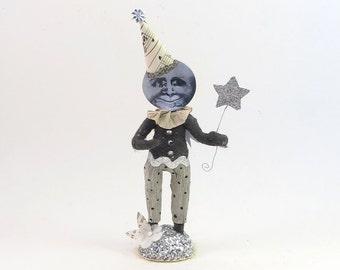 Spun Cotton Vintage Inspired Illusionist Moon Man Figure