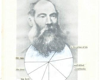 Antique photography portrait piechart poem | Original fine art collage on paper