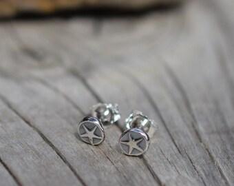 Star Post Earrings, Silver Nugget, Post, Stud Earrings, Silver Star