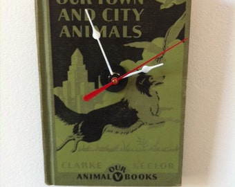 Our Town and City Animals Upcycled Book Clock