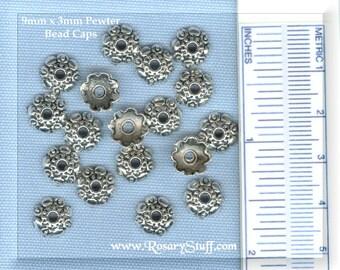 50 Pewter Flower Bead Caps - 9x3mm