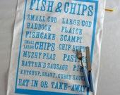 Fish & Chips screenprinted tea towel