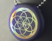 Blue Glass Pendant Flat Hollow Double Sided Reversible Cuboctahedron Seed of Life Fumed - Dan Rushin