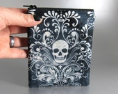Damask Skull - Coin Purse - Large - Zippered Purse - Change Purse - Zippered Pouch - Blue - Black - White
