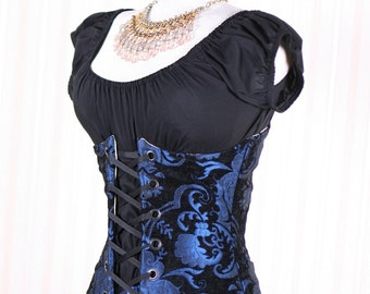 All Sizes Black & Blue Medallion Wench Corset