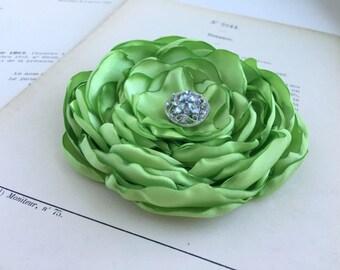 Green Flower Hair Clip.Brooch.Pin.Green Apple.Light Peridot.Bridesmaid.Headpiece.Satin Flower.Wedding.corsage.hair piece.fascinator.fabric