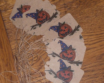 12 Primitive Hang Tags - Gift Ties - Halloween - Pumpkin  - Jack O Lanterns - Ornies - Decorate - Dollies - Critters - Party Decor -
