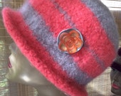 Coral Roses felted hat, 100% wool with polymer clay floral embellishment