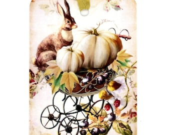 Rabbit Gift Tags , Fall Tags , White Pumpkin Tags , Autumn Tags , Thanksgiving , Fall Holidays , Leaves , Shabby and Chic , Hostess Gift