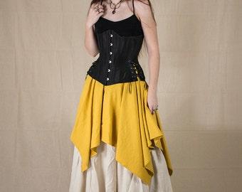 Yellow Linen Pixie Skirt Renaissance Halloween Costume