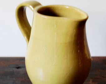 Yellow Serving Pitcher Wheel Thrown Stoneware Clay Pottery