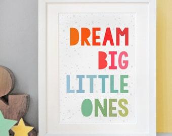 Dream Big Little Ones Twins Print – Newborn Babies Print - Nursery Artwork - Nursery Print – Twins Triplets Print – Multiple Births Gift