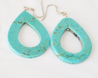 Oval earrings, Turquoise earrings dangle earrings, tear drop earrings