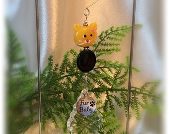 Adorable Yellow Kitty Cat Suncatcher with Austrian Crystal, Swarovski Collar, Fur Baby Tag, Handmade Hanger, Unique Cat Gifts