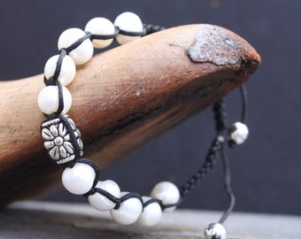 Shamballa Style Bracelet with Freshwater Pearls and Silver Floral Bead