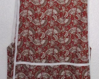 Cobbler Apron White Fans on Red #2084-A  Size Medium