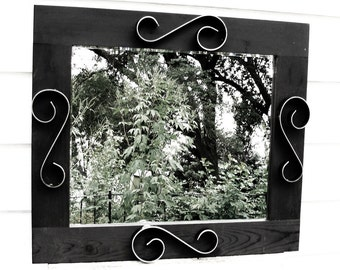 Entryway Mirror Mid Century Modern Mirror Wood Frame Mirror 31 x 28