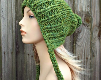 Green Slouchy Hat Womens Hat - Green Hat Green Beanie Green Slouchy Beanie - Charlotte Slouchy Ear Flap Hat With Pom Pom - Pom Pom Hat