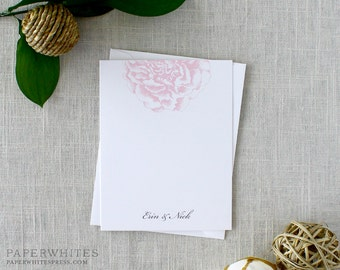 Peony Thank You Notes, Watercolor Peony Personalized Note Cards, Peonies Note Cards, Personalized Wedding Stationery Notes - SET OF 25 Cards