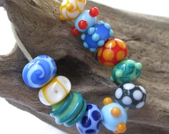 SRA Lampwork Orphan Beads Bright and Funky