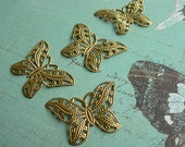 """Vintage Filigree BUTTERFLY Brass Stampings 32mm x 22mm (1-1/4"""" x 3/4"""") lot of 4"""