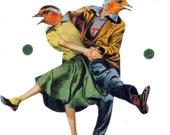 Dance Art Love Bird Dancer Artwork Original Collage on Paper 1950s Dance Contest Cute Wall Art Fifties Boyfriend Girlfriend