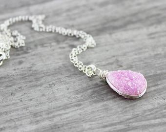 Light Pink Necklace, Pink Druzy Necklace, Wire Wrap Necklace, Drusy Gemstone Necklace, Sterling Silver Necklace, Teardrop Pendant Necklace