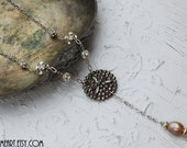 Vintage Riveted Steel Button, Rhinestone and Baroque Pearl Necklace...Bouton Two
