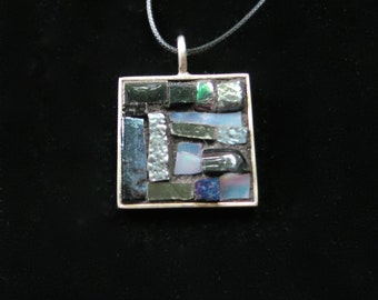 Film Noir Black and Silver Gray Pendant