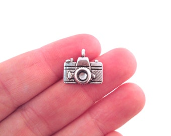 12 camera charms, silver plated, 15x14mm, D91