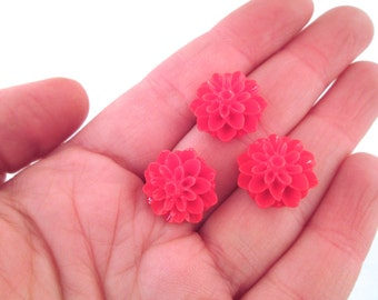 Red 15mm mum flower cabochons,chrysanthemum cabs