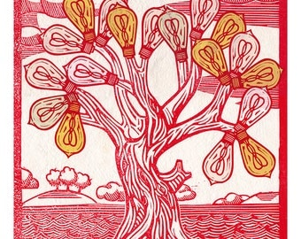Tree of Lightbulbs Linocut Print Art Original
