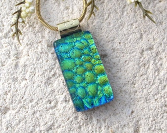 Petite Blue Green Gold Necklace, Dichroic Jewelry, Dichroic Necklace, Fused Glass Jewelry, Fused Glass Pendant, Glass Necklace, 100716p107