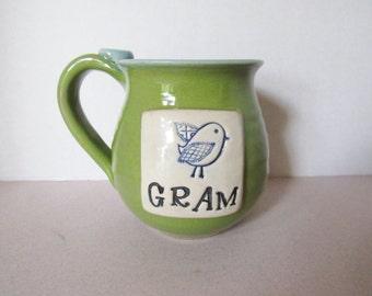 Ready to Ship GRAM Mug - 14 oz - Mug for Gram with bluebird - Mug with thumb rest