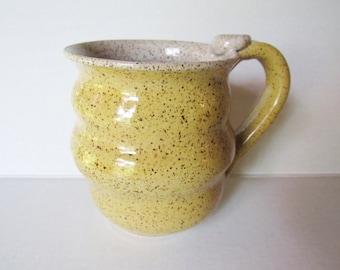 Wavy Mug - Yellow Speckled Mug - 14 oz  Coffee Cup - Ready to Ship Ceramic Cup