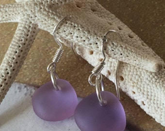 Lavender Sea Glass Earrings Seaglass jewelry Cultured beach glass minimalist earring Recycled Glass Glass nuggets pebbles beach earrings