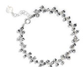 Mystic Pyrite Cluster Bracelet in Sterling Silver - Single Strand