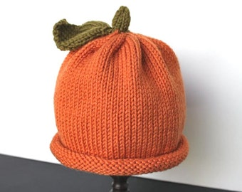 Pumpkin Hat, Knit Pumpkin Hat, Baby Pumpkin Hat, Thanksgiving Hat, Baby Hat, Costume Hat, Halloween Hat, Autumn Hat, Baby Photo Prop Hat