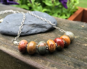 Picasso Jasper, Real Stone, Sterling Silver, 17 Inch Necklace, Earthy Colors, Cream Tan Brick Green Mustard Ochre, Natural Stone
