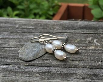 White Freshwater Pearl Sterling Silver Dangle Earrings